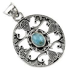 2.90cts natural blue aquamarine 925 sterling silver pendant jewelry d45070