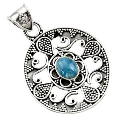 2.90cts natural blue aquamarine 925 sterling silver pendant jewelry d45078