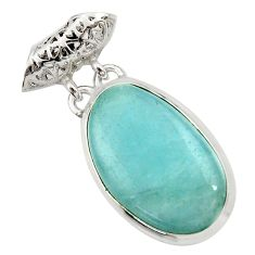 15.65cts natural blue aquamarine 925 sterling silver pendant jewelry d45509