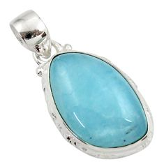 15.65cts natural blue aquamarine 925 sterling silver pendant jewelry d45510