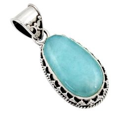17.29cts natural blue aquamarine 925 sterling silver pendant jewelry d45511