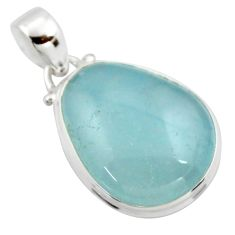 15.08cts natural blue aquamarine 925 sterling silver pendant jewelry r39702