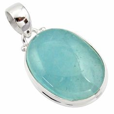 16.18cts natural blue aquamarine 925 sterling silver pendant jewelry r39717