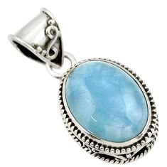 9.74cts natural blue aquamarine 925 sterling silver pendant jewelry r44141