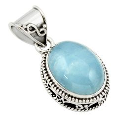 9.77cts natural blue aquamarine 925 sterling silver pendant jewelry r44142