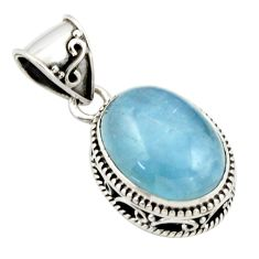 10.27cts natural blue aquamarine 925 sterling silver pendant jewelry r44143