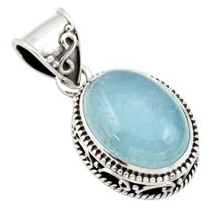 9.78cts natural blue aquamarine 925 sterling silver pendant jewelry r44144