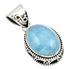 9.83cts natural blue aquamarine 925 sterling silver pendant jewelry r44145