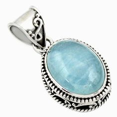 9.95cts natural blue aquamarine 925 sterling silver pendant jewelry r44147