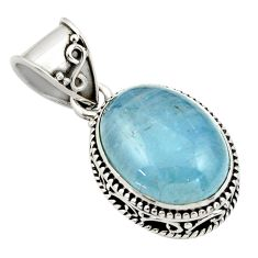 10.03cts natural blue aquamarine 925 sterling silver pendant jewelry r44148