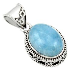 9.18cts natural blue aquamarine 925 sterling silver pendant jewelry r44149