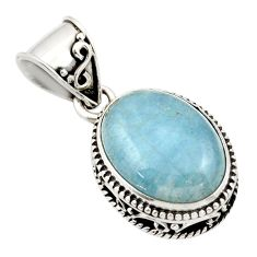 9.72cts natural blue aquamarine 925 sterling silver pendant jewelry r44150