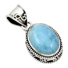 9.76cts natural blue aquamarine 925 sterling silver pendant jewelry r44151