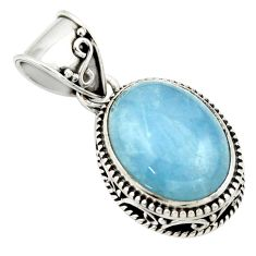 9.73cts natural blue aquamarine 925 sterling silver pendant jewelry r44152