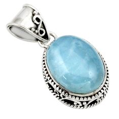 10.06cts natural blue aquamarine 925 sterling silver pendant jewelry r44153