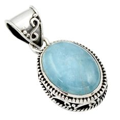 9.62cts natural blue aquamarine 925 sterling silver pendant jewelry r44154