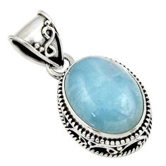 9.93cts natural blue aquamarine 925 sterling silver pendant jewelry r44155