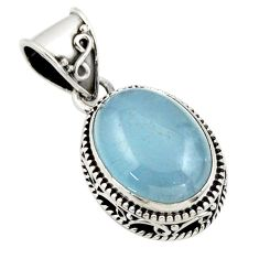 9.57cts natural blue aquamarine 925 sterling silver pendant jewelry r44156