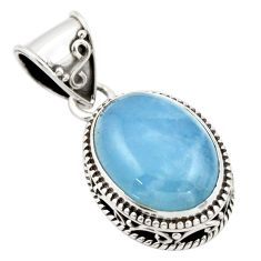9.89cts natural blue aquamarine 925 sterling silver pendant jewelry r44157