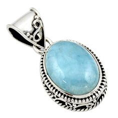 9.66cts natural blue aquamarine 925 sterling silver pendant jewelry r44158