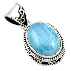 9.79cts natural blue aquamarine 925 sterling silver pendant jewelry r44159