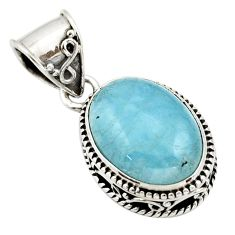 9.72cts natural blue aquamarine 925 sterling silver pendant jewelry r44160