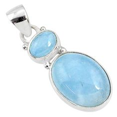 11.73cts natural blue aquamarine 925 sterling silver pendant jewelry r68109