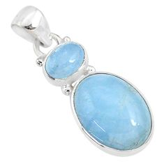 11.68cts natural blue aquamarine 925 sterling silver pendant jewelry r68114