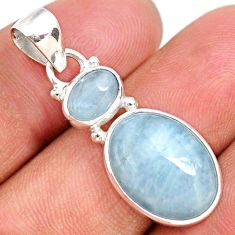 11.73cts natural blue aquamarine 925 sterling silver pendant jewelry r68130
