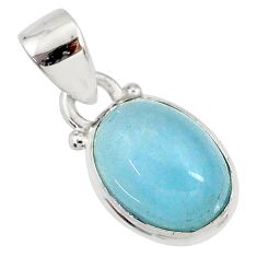 4.17cts natural blue aquamarine 925 sterling silver pendant jewelry r78303