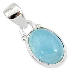 4.22cts natural blue aquamarine 925 sterling silver pendant jewelry r78309