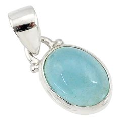 3.84cts natural blue aquamarine 925 sterling silver pendant jewelry r78314
