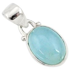 3.84cts natural blue aquamarine 925 sterling silver pendant jewelry r78319