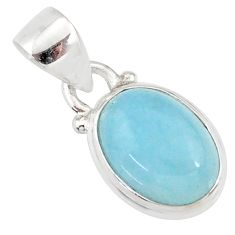 4.22cts natural blue aquamarine 925 silver handmade pendant r78322