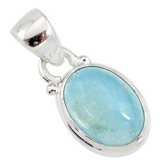 4.57cts natural blue aquamarine 925 silver handmade pendant r78323