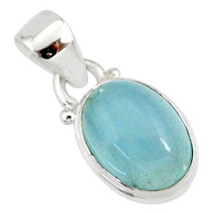 4.50cts natural blue aquamarine 925 silver handmade pendant r78326