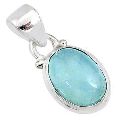 4.50cts natural blue aquamarine 925 silver handmade pendant r78330