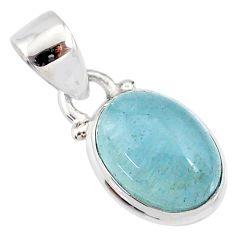 4.81cts natural blue aquamarine 925 silver handmade pendant r78331