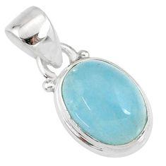 4.91cts natural blue aquamarine 925 silver handmade pendant r78333