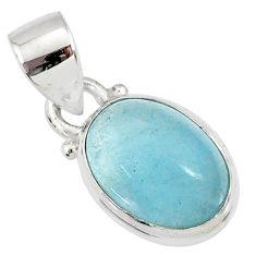 4.47cts natural blue aquamarine 925 silver handmade pendant r78334