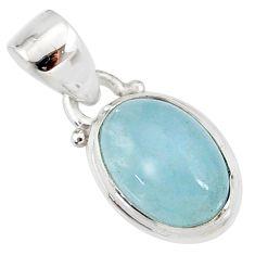 4.22cts natural blue aquamarine 925 silver handmade pendant r78335