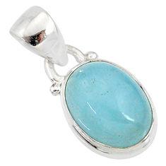 4.47cts natural blue aquamarine 925 silver handmade pendant r78338