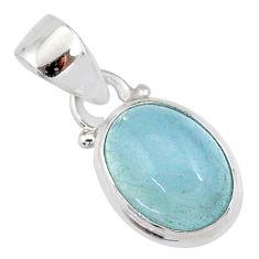 4.57cts natural blue aquamarine 925 silver handmade pendant r78339