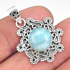 5.06cts natural blue aquamarine 925 sterling silver handmade pendant r85108
