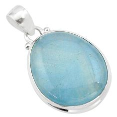 17.15cts natural blue aquamarine 925 sterling silver pendant jewelry t42750