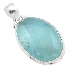 19.23cts natural blue aquamarine 925 sterling silver pendant jewelry t42755