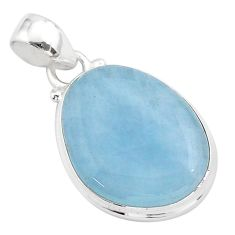 14.23cts natural blue aquamarine 925 sterling silver pendant jewelry t42770