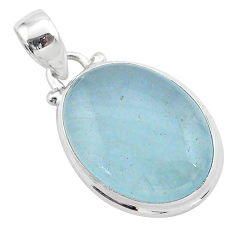 12.70cts natural blue aquamarine 925 sterling silver pendant jewelry t42775