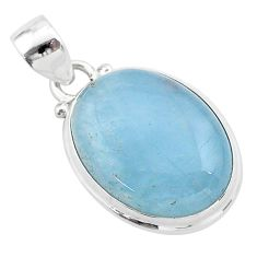 15.65cts natural blue aquamarine 925 sterling silver pendant jewelry t42778