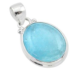 12.55cts natural blue aquamarine 925 sterling silver pendant jewelry t42902
